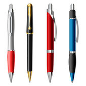 Realistic ballpoint pen set — Stock Vector
