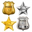 Police badge set - Stok Vektör