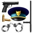 Police items set — Stock Vector