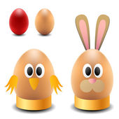 Egg rabbit and chicken for Easter — Stock Vector