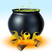 Witch cauldron on fire — Stock Vector