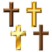 Wood and gold cross set — Stock Vector