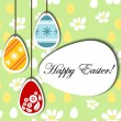 Easter background with hanging eggs — Stock Vector