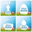 Easter card set with different silhouette text box — Stock Vector