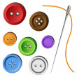 Clothes button set with needle — Stock Vector