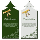Christmas tree shaped invitations with bow — Stock Vector