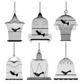 Vintage bird cage set — Stock Vector