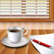Royalty-Free Stock Vector Image: Cup of coffee on a wood table