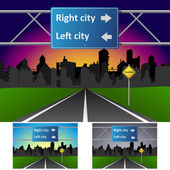Road heading to town in different parts of the day — Stock Vector