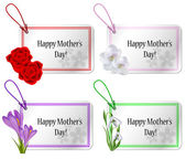 Mothers day card set with flowers — Stock Vector