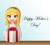 Mothers day greeting card with cartoon girl — Stock Vector