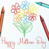Children drawing for mothers day with crayon and flower — Stock Vector