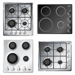 Stock Vector: Kitchen stove hob set