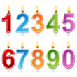 Birthday number candle set — 图库矢量图片