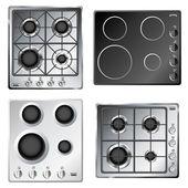 Kitchen stove hob set — Stock Vector