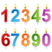 Birthday number candle set — Stock Vector