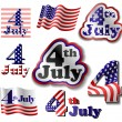 4 july sticker set — Stock Vector
