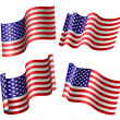American flag set — Stock Vector