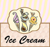Text frame with abstract ice cream symbols — Stock Vector