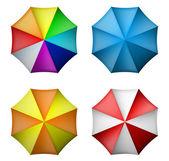 Umbrella set from top view — Stock Vector