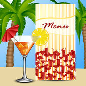 Menu with cocktail — Stock Vector