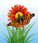 Realistic butterfly on flower — Stock Vector