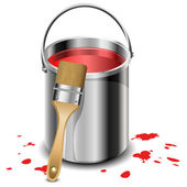 Paint bucket with paint brush — Stock Vector
