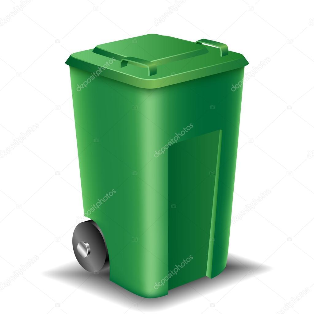 绿色街道垃圾桶 — 图库矢量图片