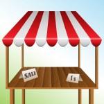 mesa de venta con toldo rayado — Vector de stock