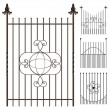Wrought iron fence set — Stock Vector
