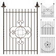Stock Vector: Wrought iron fence set