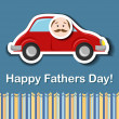 Fathers day card with cartoon car — Stock Vector