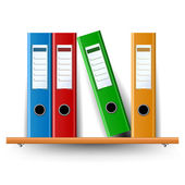 Binder set on wood shelf — Stock Vector