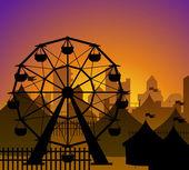 Ferris ve sirk siluet önünde bir şehir — Stok Vektör