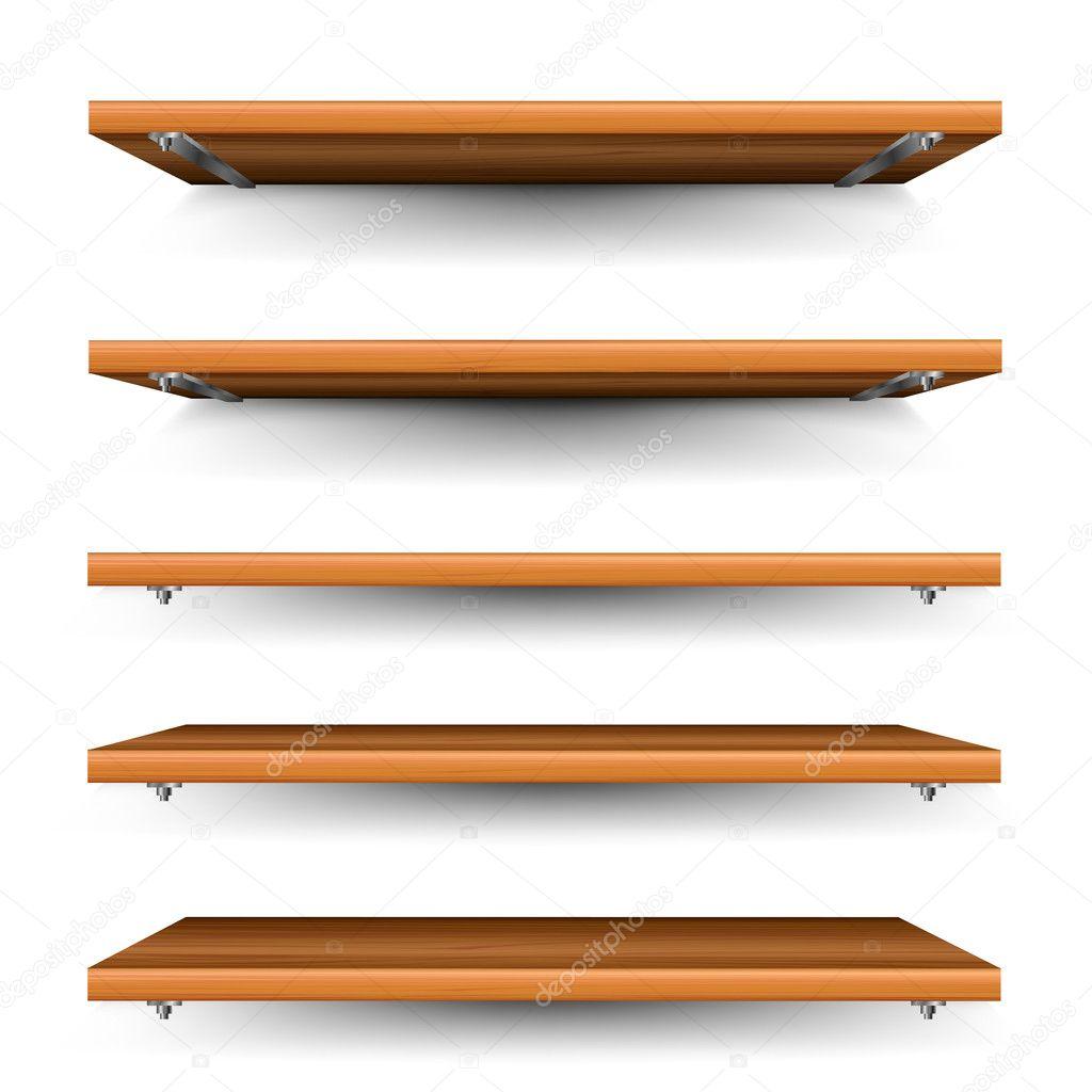 Conjunto de prateleiras de madeira — Ilustração de Stock #27862663 #B45D17 1024x1024