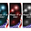 July 4 card set with firework — Stock Vector