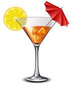 Orange cocktail avec parasol et tranche de citron — Vecteur
