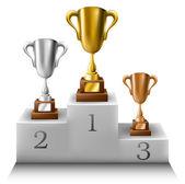 Trophy set on winners podium — Stock Vector
