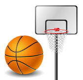 Basketball ball and basket — Stock Vector
