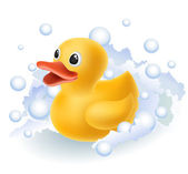 Rubber duck in foam — Stock Vector