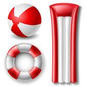 Beach ball and float set — Stock Vector
