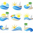 Summer vacation in nature icon set — Stock Vector