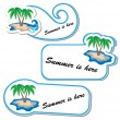 Summer sticker set with palm tree — Stock Vector