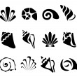 Abstract shell symbol set — Stock Vector