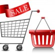 Shopping cart and basket — Stockvectorbeeld