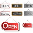 Open and closed sign set — Stock Vector