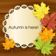 Autumn text frame with leaves — Stock Vector