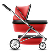 Red baby stroller — Stock Vector