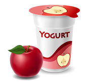 Apple yogurt cup with red apple — Stock Vector