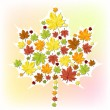 Autumn leaf made from small leaves — Stock Vector